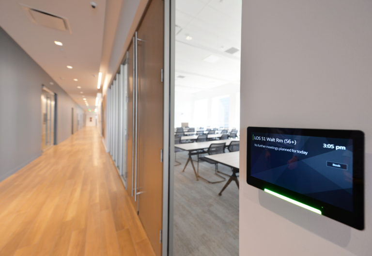 Conference room and room scheduling panel